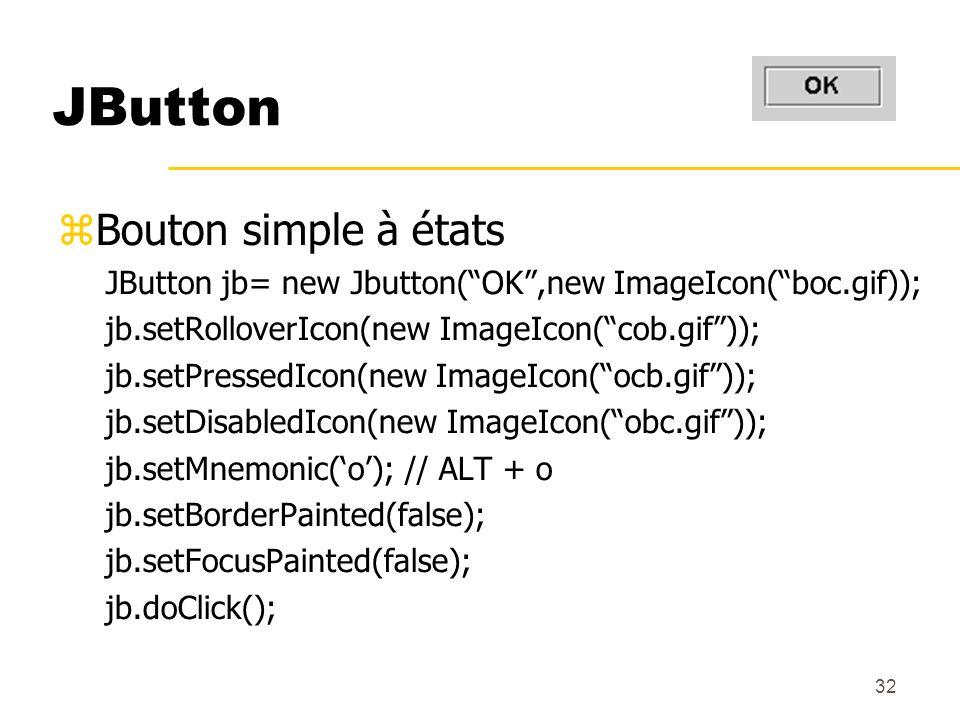 32 JButton Bouton simple à états JButton jb= new Jbutton(OK,new ImageIcon(boc.gif)); jb.setRolloverIcon(new ImageIcon(cob.gif)); jb.setPressedIcon(new