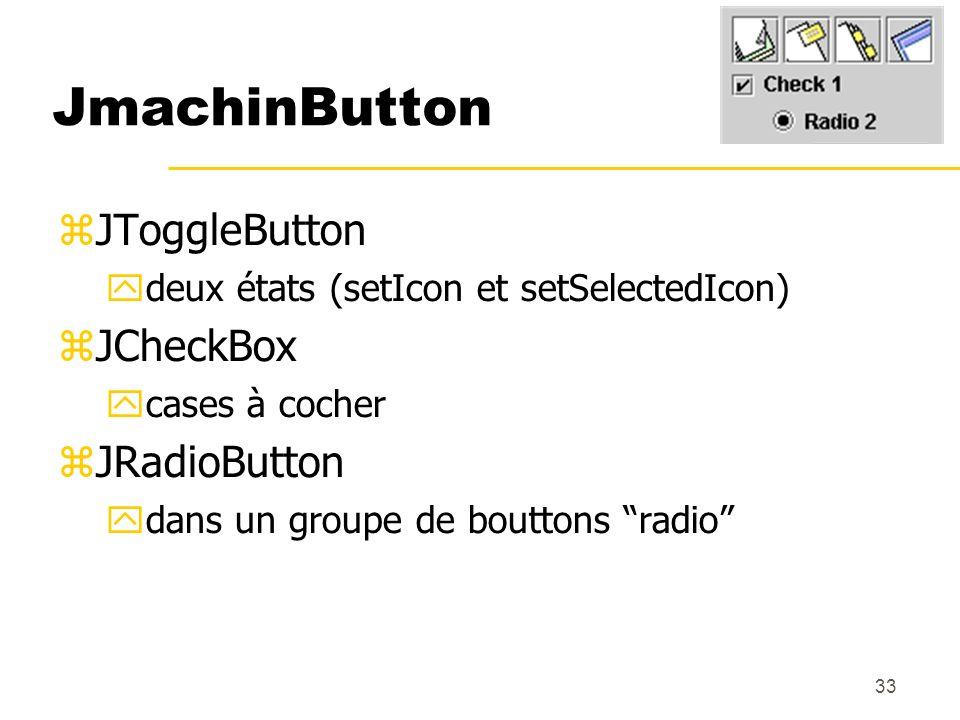 33 JmachinButton JToggleButton deux états (setIcon et setSelectedIcon) JCheckBox cases à cocher JRadioButton dans un groupe de bouttons radio penser à