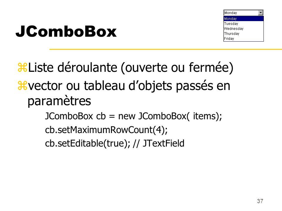 37 JComboBox Liste déroulante (ouverte ou fermée) vector ou tableau dobjets passés en paramètres JComboBox cb = new JComboBox( items); cb.setMaximumRo