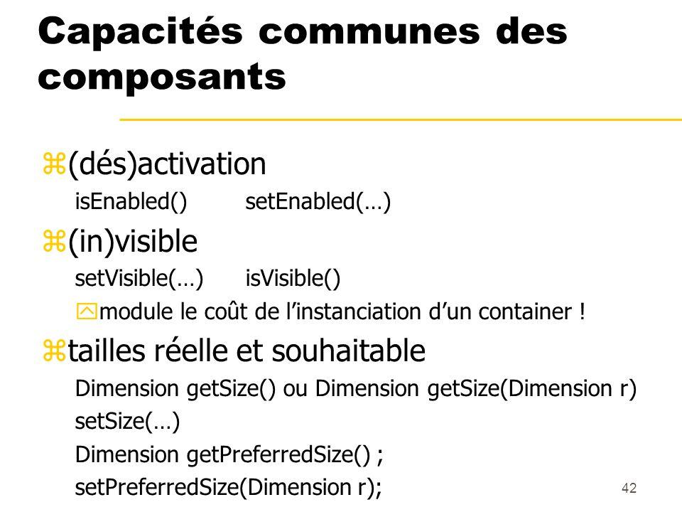 42 Capacités communes des composants (dés)activation isEnabled()setEnabled(…) (in)visible setVisible(…)isVisible() module le coût de linstanciation du