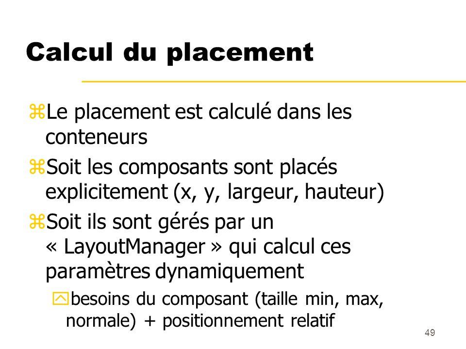 49 Calcul du placement Le placement est calculé dans les conteneurs Soit les composants sont placés explicitement (x, y, largeur, hauteur) Soit ils so