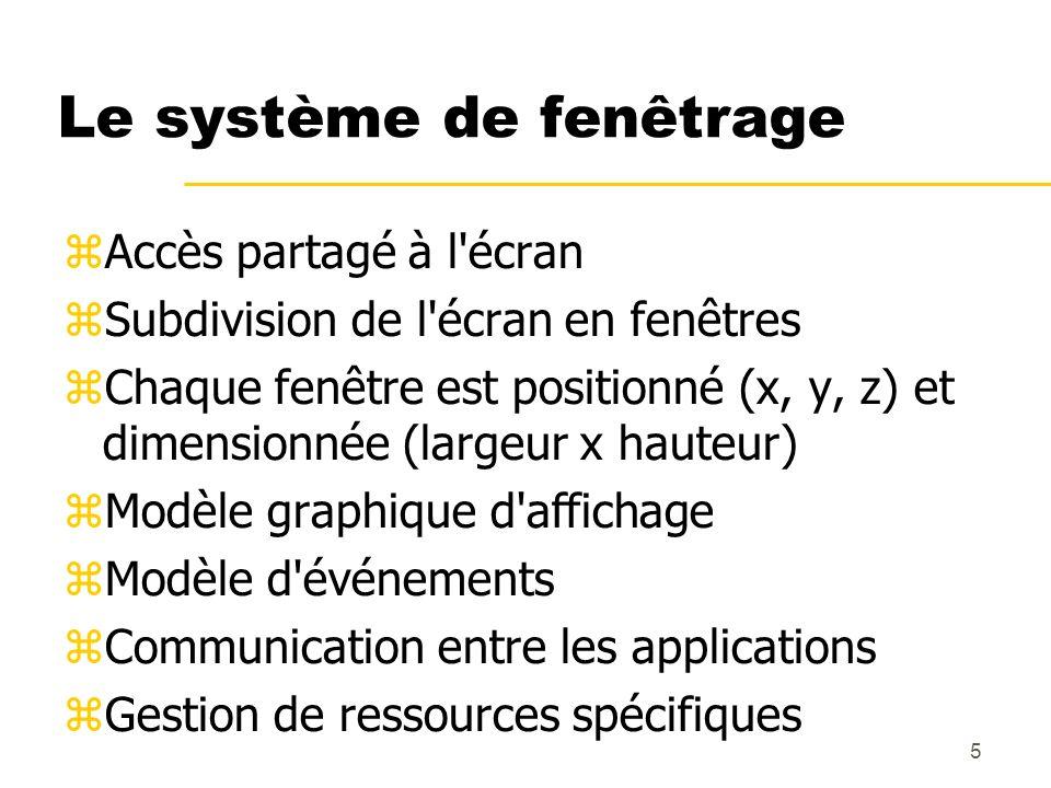 5 Le système de fenêtrage Accès partagé à l'écran Subdivision de l'écran en fenêtres Chaque fenêtre est positionné (x, y, z) et dimensionnée (largeur