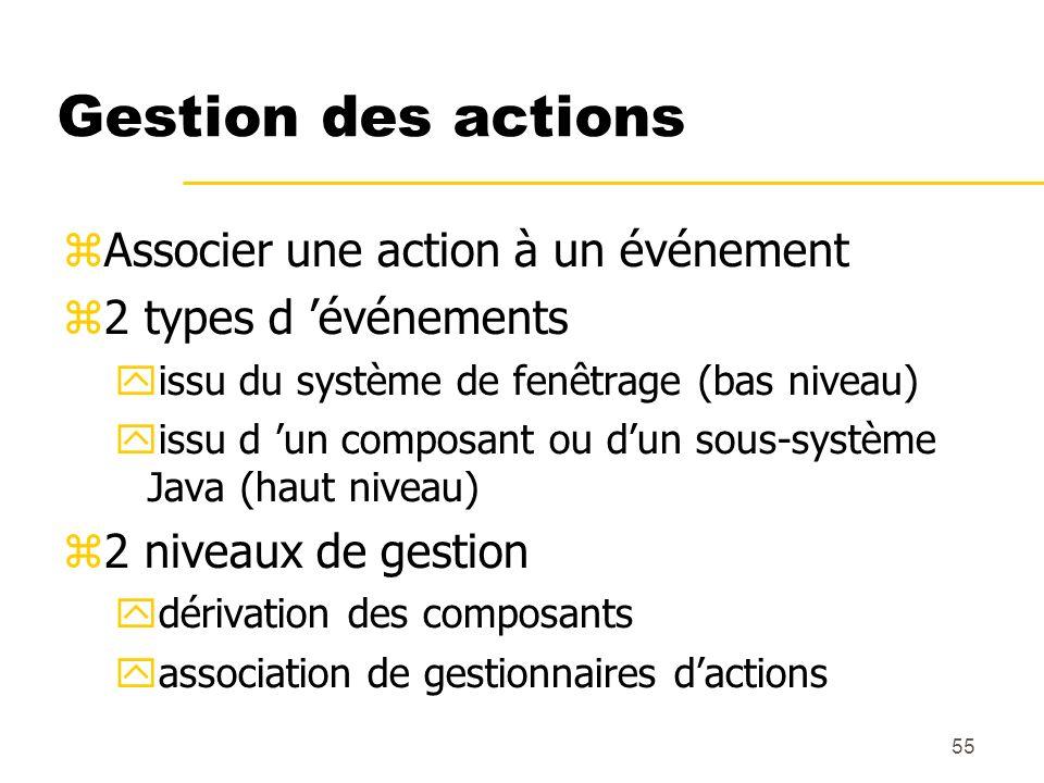 55 Gestion des actions Associer une action à un événement 2 types d événements issu du système de fenêtrage (bas niveau) issu d un composant ou dun so