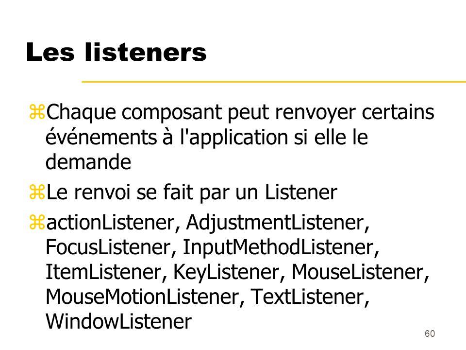 60 Les listeners Chaque composant peut renvoyer certains événements à l'application si elle le demande Le renvoi se fait par un Listener actionListene