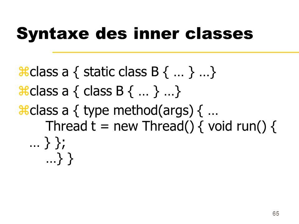 65 Syntaxe des inner classes class a { static class B { … } …} class a { class B { … } …} class a { type method(args) { … Thread t = new Thread() { vo
