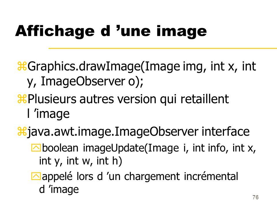 76 Affichage d une image Graphics.drawImage(Image img, int x, int y, ImageObserver o); Plusieurs autres version qui retaillent l image java.awt.image.