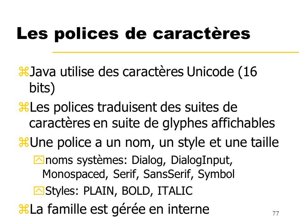 77 Les polices de caractères Java utilise des caractères Unicode (16 bits) Les polices traduisent des suites de caractères en suite de glyphes afficha