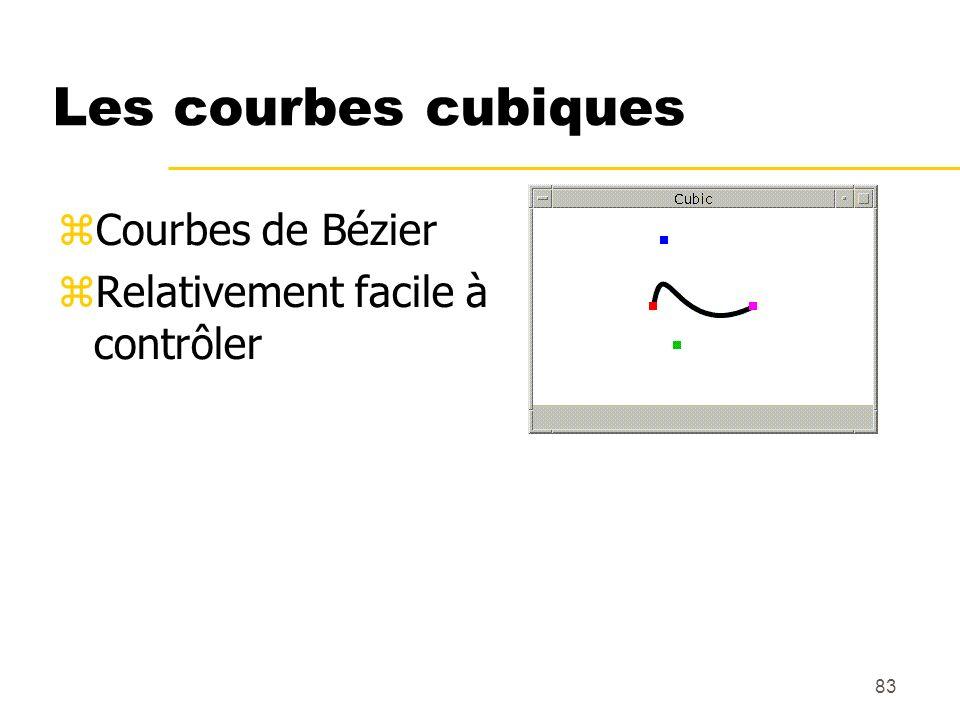 83 Les courbes cubiques Courbes de Bézier Relativement facile à contrôler