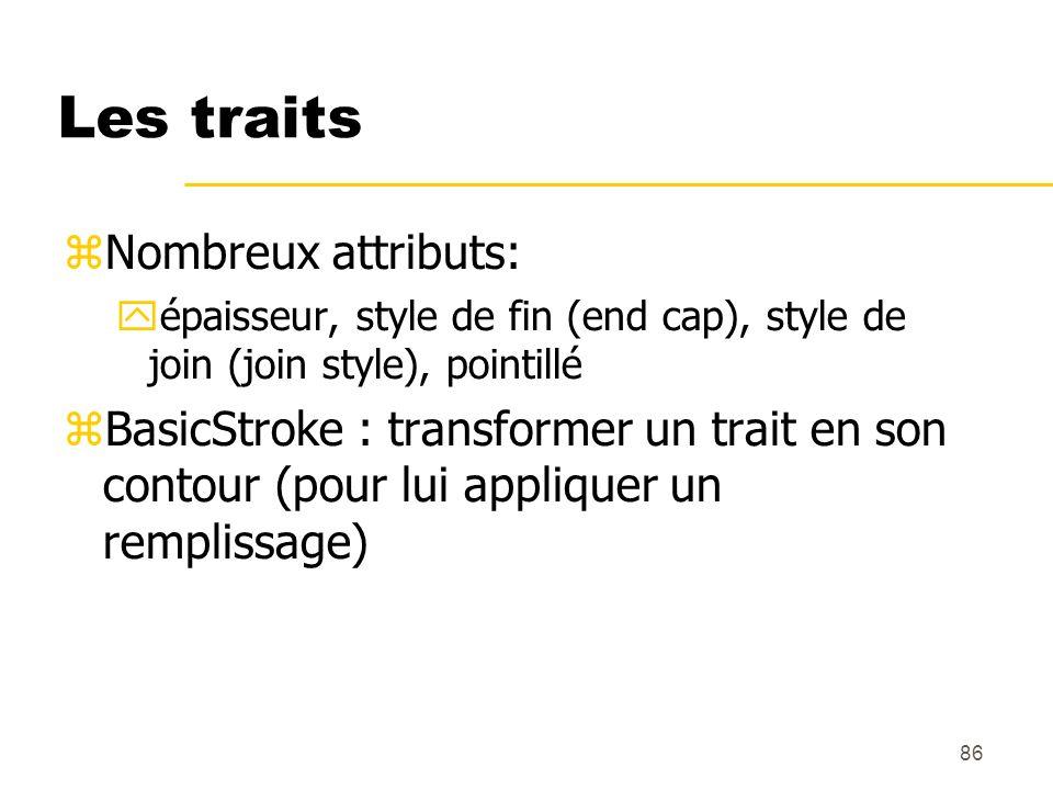 86 Les traits Nombreux attributs: épaisseur, style de fin (end cap), style de join (join style), pointillé BasicStroke : transformer un trait en son c