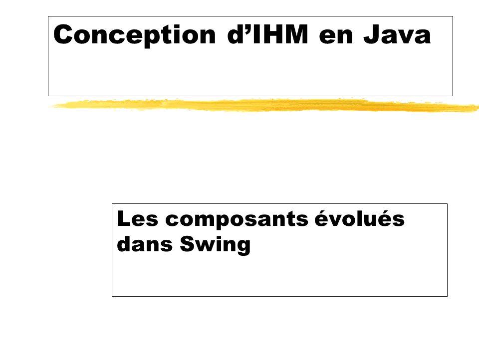 Conception dIHM en Java Les composants évolués dans Swing