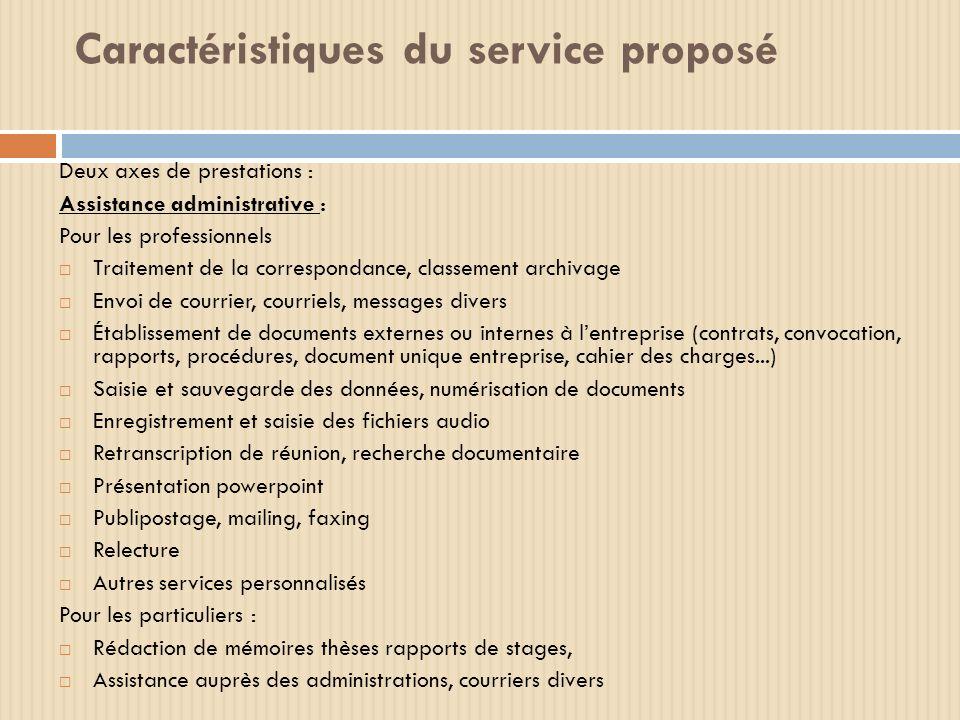 Caractéristiques du service proposé Deux axes de prestations : Assistance administrative : Pour les professionnels Traitement de la correspondance, cl