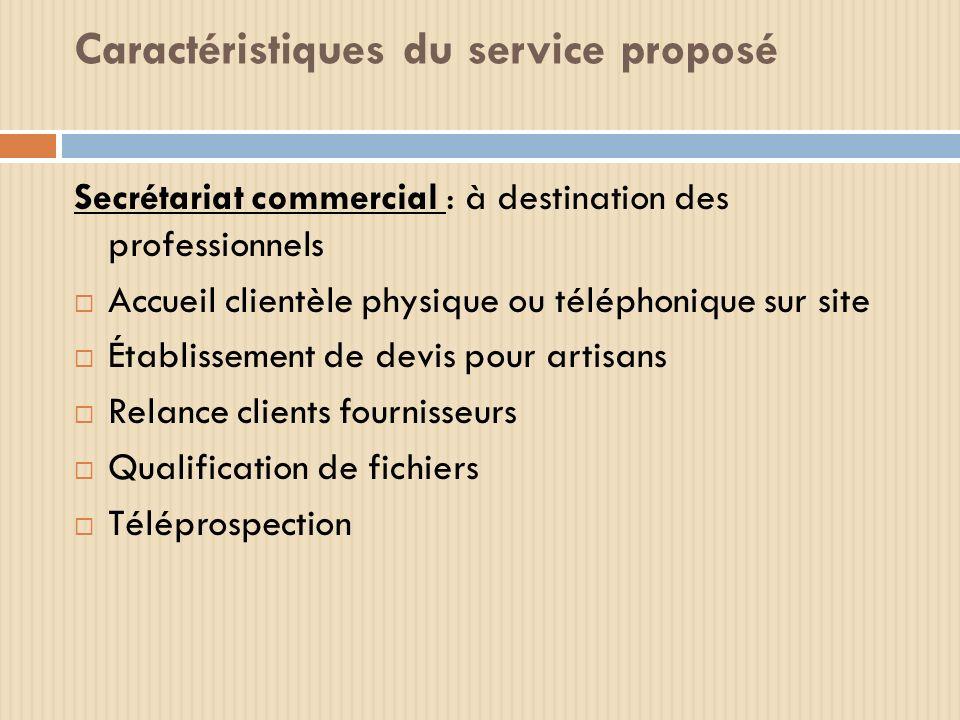 Caractéristiques du service proposé Secrétariat commercial : à destination des professionnels Accueil clientèle physique ou téléphonique sur site Étab