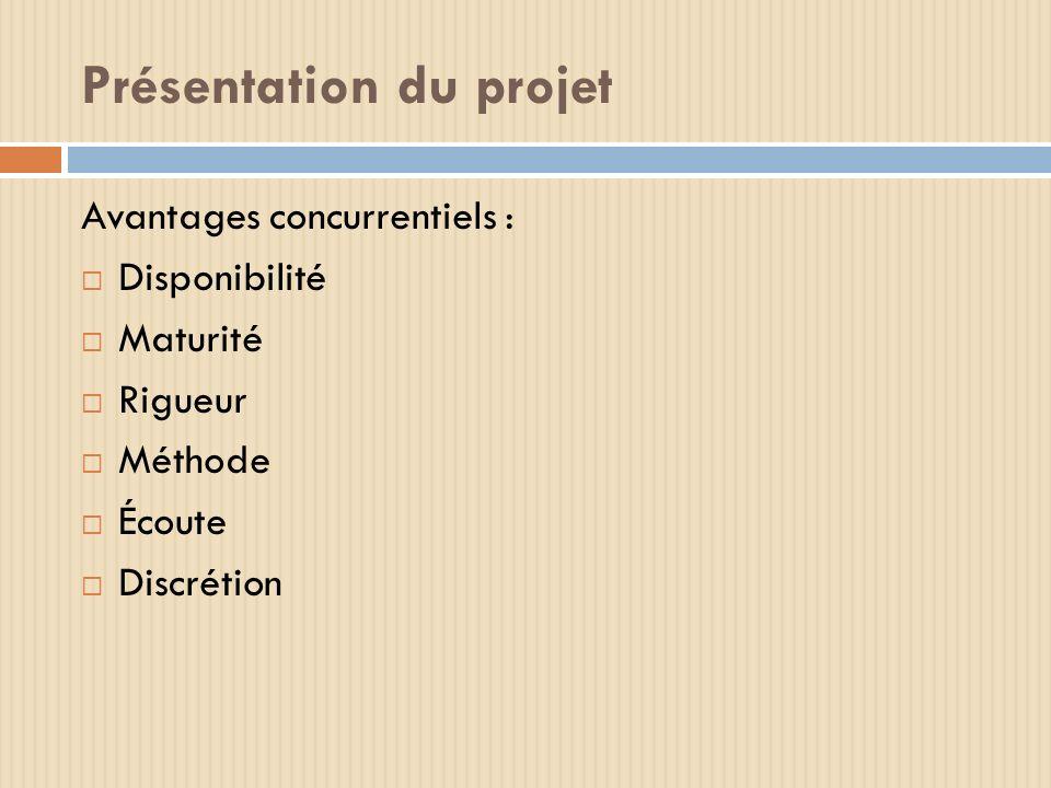 Présentation du projet Avantages concurrentiels : Disponibilité Maturité Rigueur Méthode Écoute Discrétion