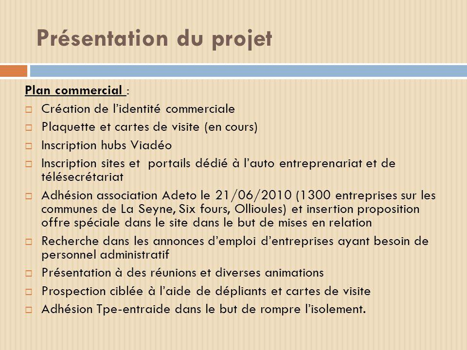 Présentation du projet Plan commercial : Création de lidentité commerciale Plaquette et cartes de visite (en cours) Inscription hubs Viadéo Inscriptio