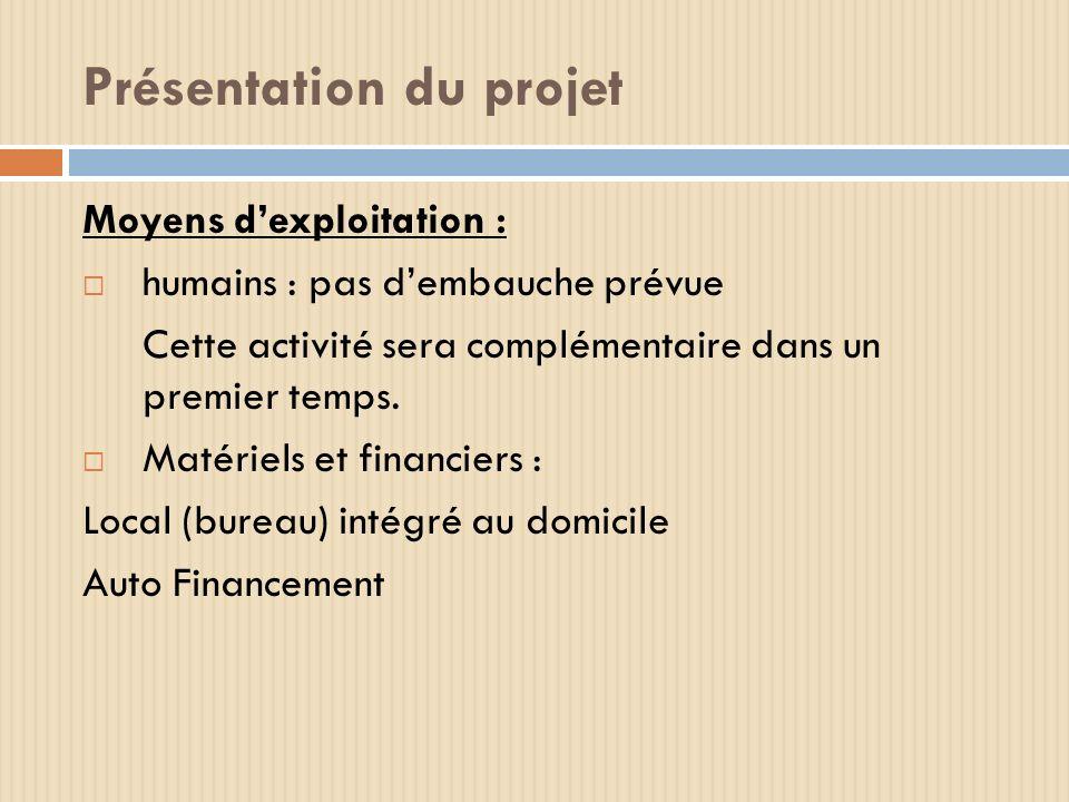 Présentation du projet Moyens dexploitation : humains : pas dembauche prévue Cette activité sera complémentaire dans un premier temps. Matériels et fi