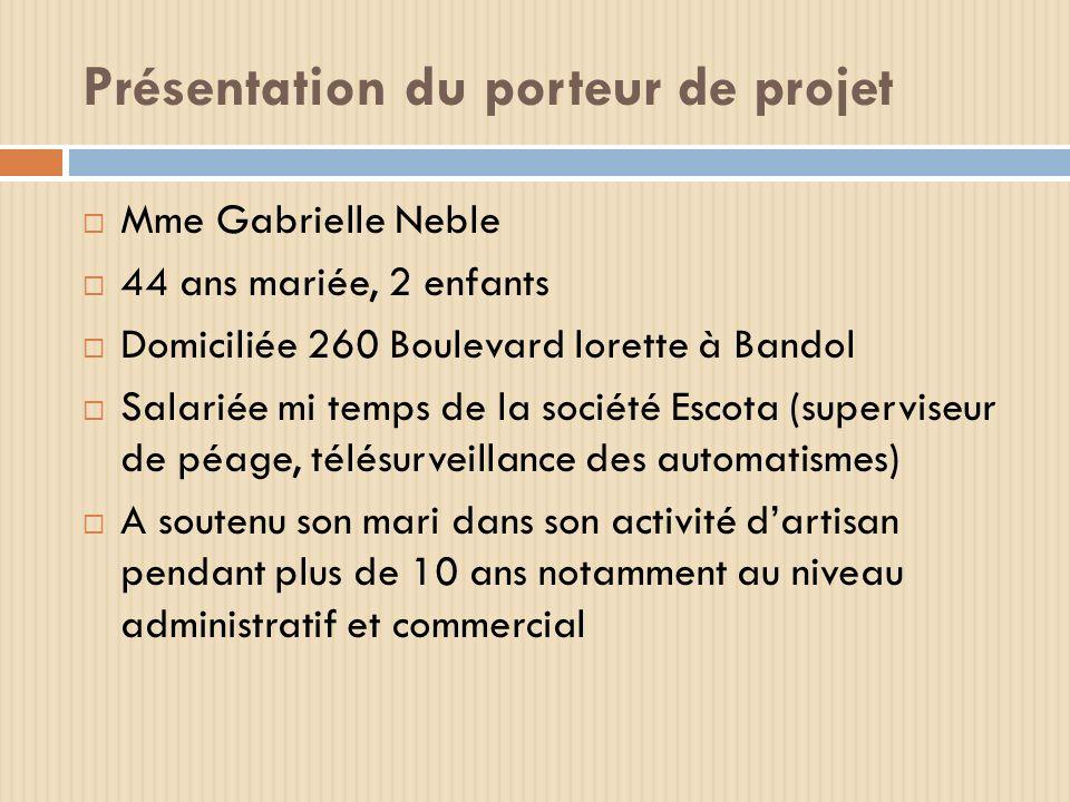 Présentation du porteur de projet Mme Gabrielle Neble 44 ans mariée, 2 enfants Domiciliée 260 Boulevard lorette à Bandol Salariée mi temps de la socié