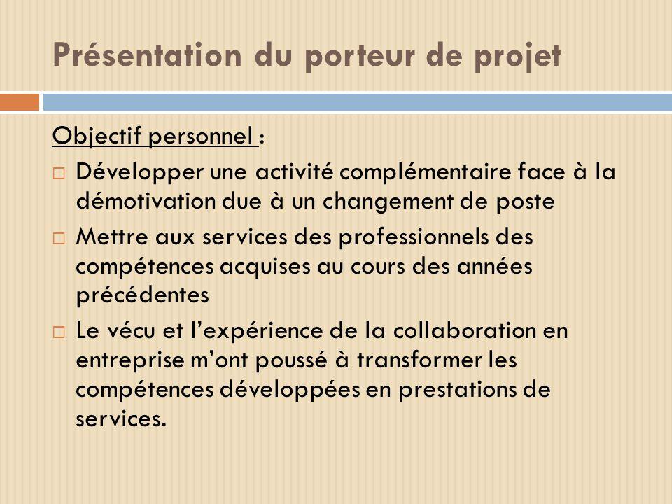 Présentation du porteur de projet Objectif personnel : Développer une activité complémentaire face à la démotivation due à un changement de poste Mett