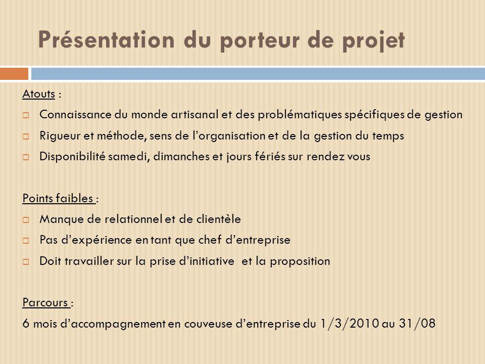 Présentation du porteur de projet Atouts : Connaissance du monde artisanal et des problématiques spécifiques de gestion Rigueur et méthode, sens de lo