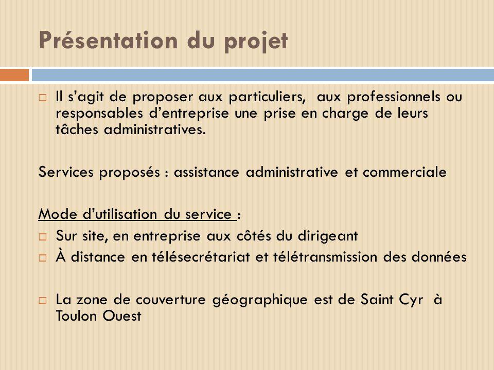 Présentation du projet Il sagit de proposer aux particuliers, aux professionnels ou responsables dentreprise une prise en charge de leurs tâches admin