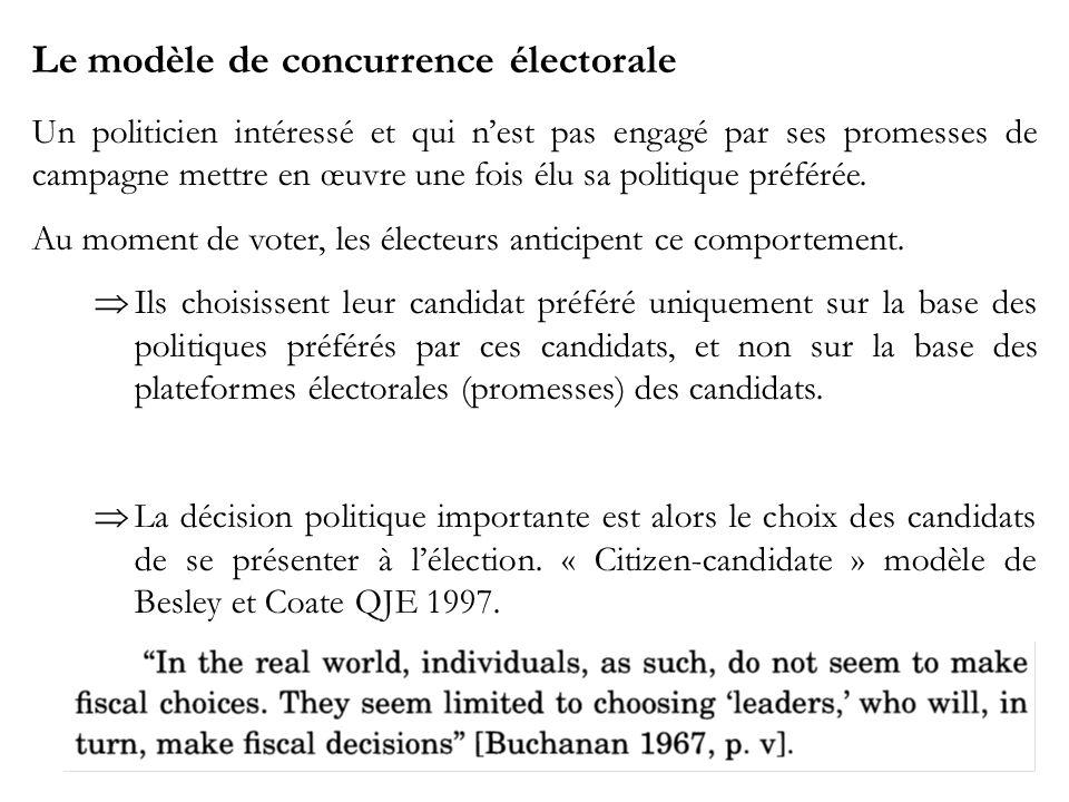 Le modèle de concurrence électorale Un politicien intéressé et qui nest pas engagé par ses promesses de campagne mettre en œuvre une fois élu sa politique préférée.