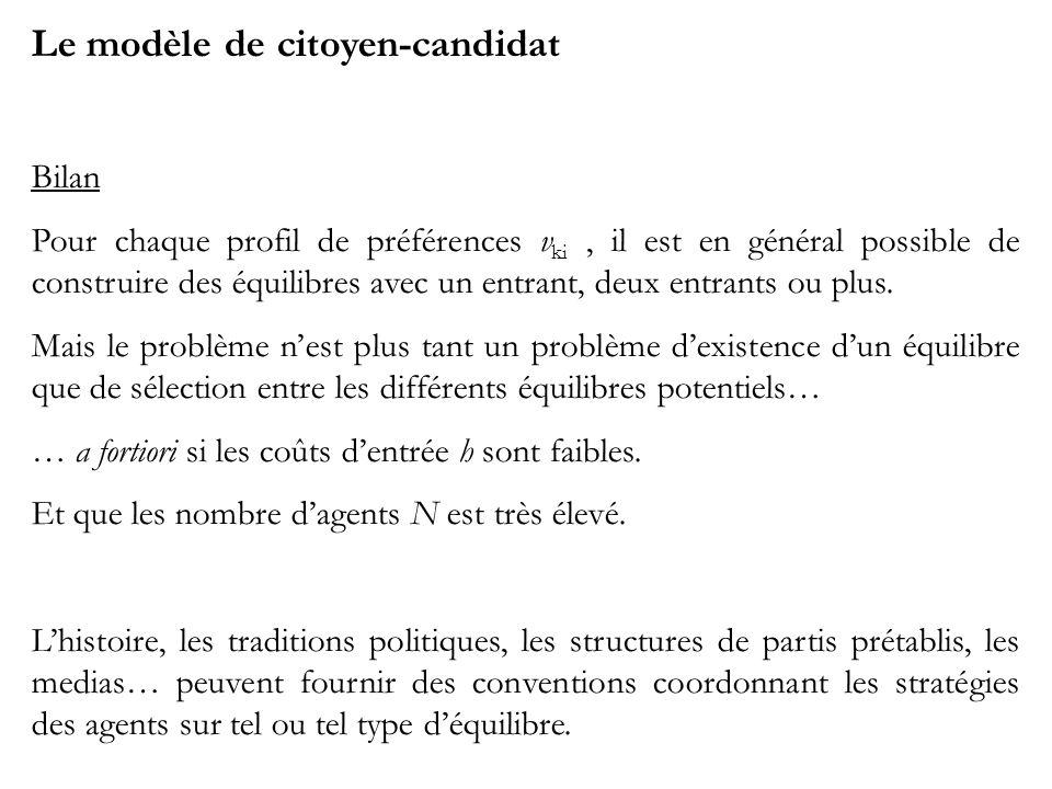 Le modèle de citoyen-candidat Bilan Pour chaque profil de préférences v ki, il est en général possible de construire des équilibres avec un entrant, d