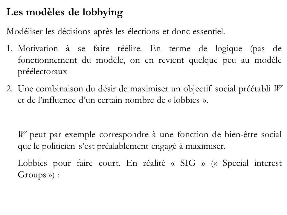 Les modèles de lobbying Modéliser les décisions après les élections et donc essentiel. 1.Motivation à se faire réélire. En terme de logique (pas de fo
