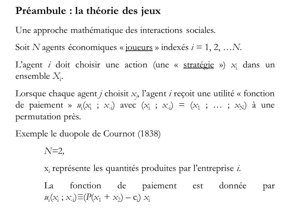 Préambule : la théorie des jeux Une approche mathématique des interactions sociales. Soit N agents économiques « joueurs » indexés i = 1, 2, …N. Lagen