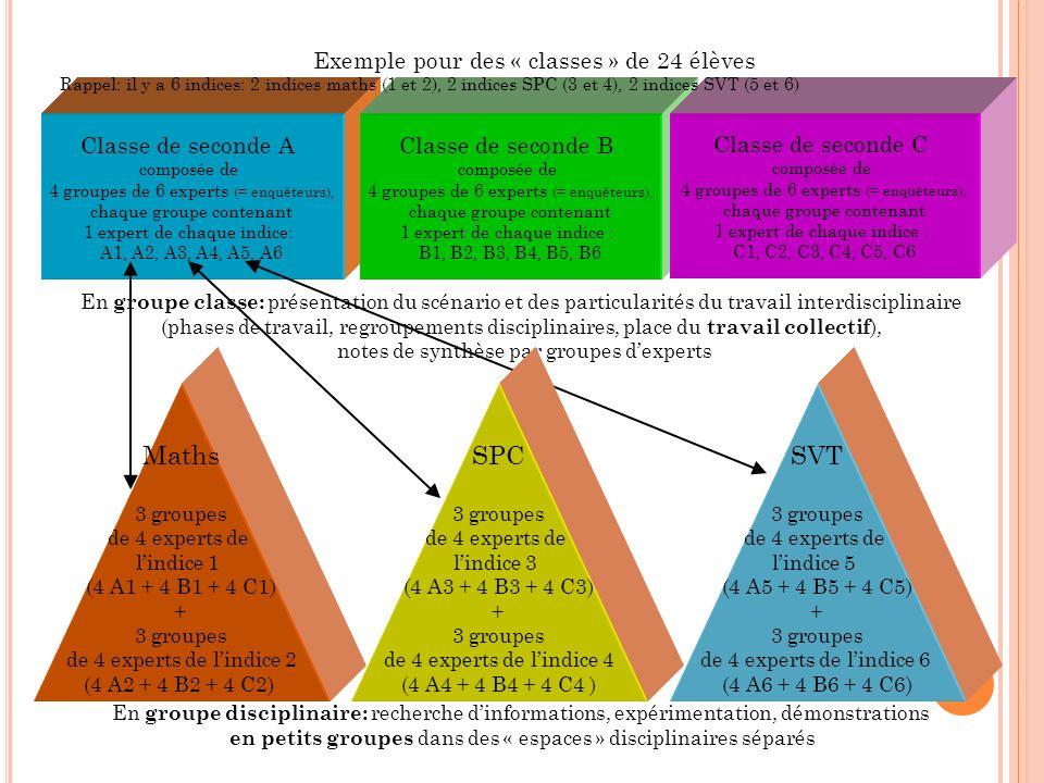 Classe de seconde A composée de 4 groupes de 6 experts (= enquêteurs), chaque groupe contenant 1 expert de chaque indice: A1, A2, A3, A4, A5, A6 Class