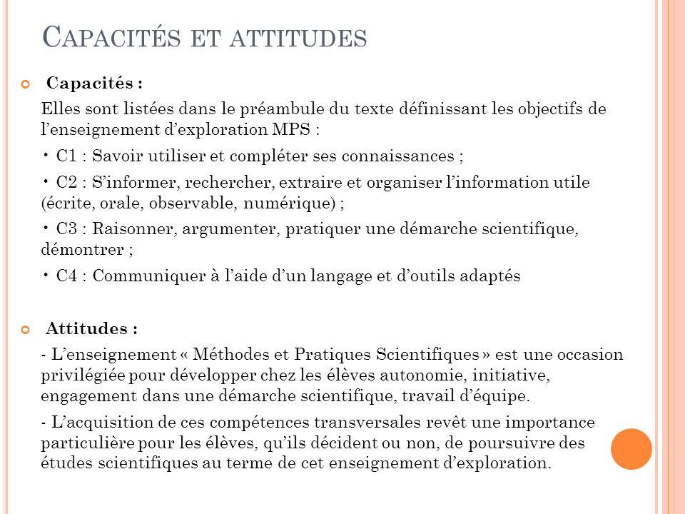 C APACITÉS ET ATTITUDES Capacités : Elles sont listées dans le préambule du texte définissant les objectifs de lenseignement dexploration MPS : C1 : S