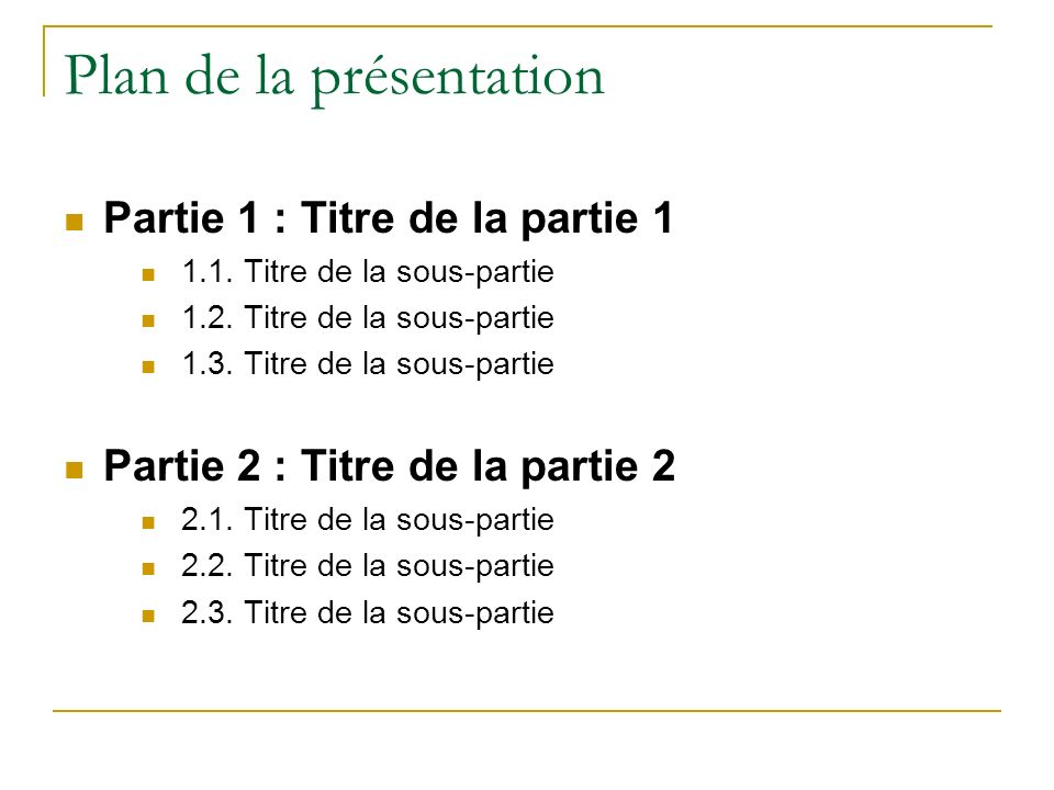 Plan de la présentation Partie 1 : Titre de la partie 1 1.1.
