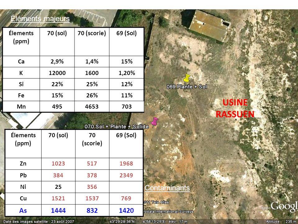 USINE RASSUEN Élements (ppm) 70 (sol)70 (scorie)69 (Sol) Ca2,9%1,4%15% K1200016001,20% Si22%25%12% Fe15%26%11% Mn4954653703 Élements (ppm) 70 (sol)70