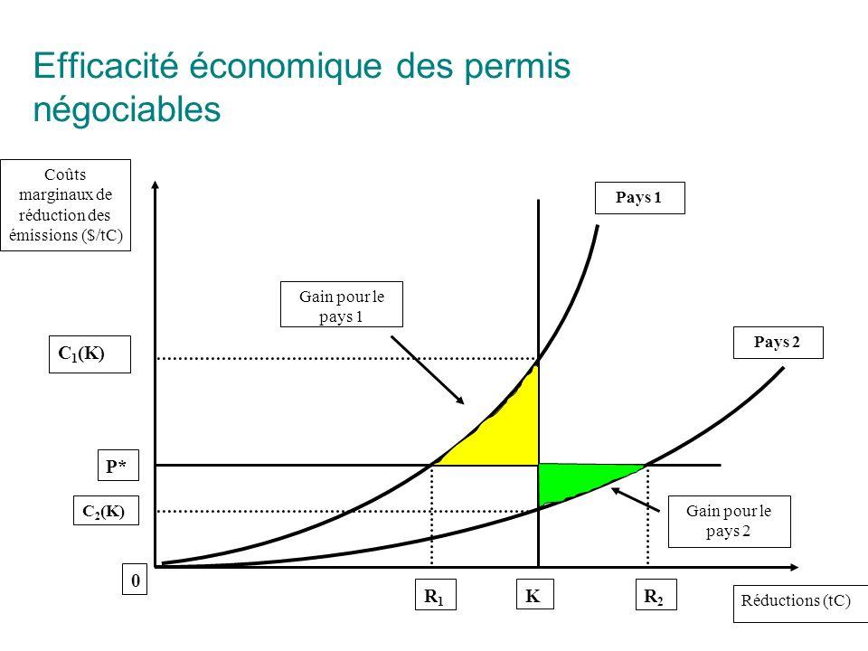 Efficacité économique des permis négociables Coûts marginaux de réduction des émissions ($/tC) Réductions (tC) Gain pour le pays 1 Gain pour le pays 2