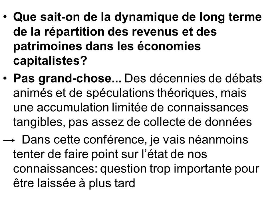 Que sait-on de la dynamique de long terme de la répartition des revenus et des patrimoines dans les économies capitalistes? Pas grand-chose... Des déc