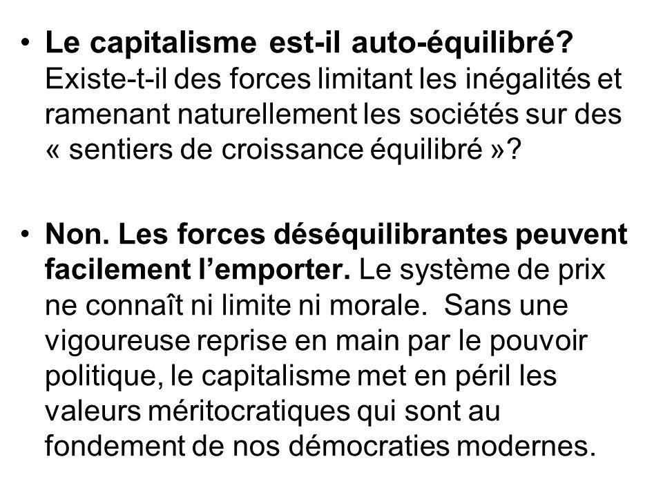 Le capitalisme est-il auto-équilibré? Existe-t-il des forces limitant les inégalités et ramenant naturellement les sociétés sur des « sentiers de croi