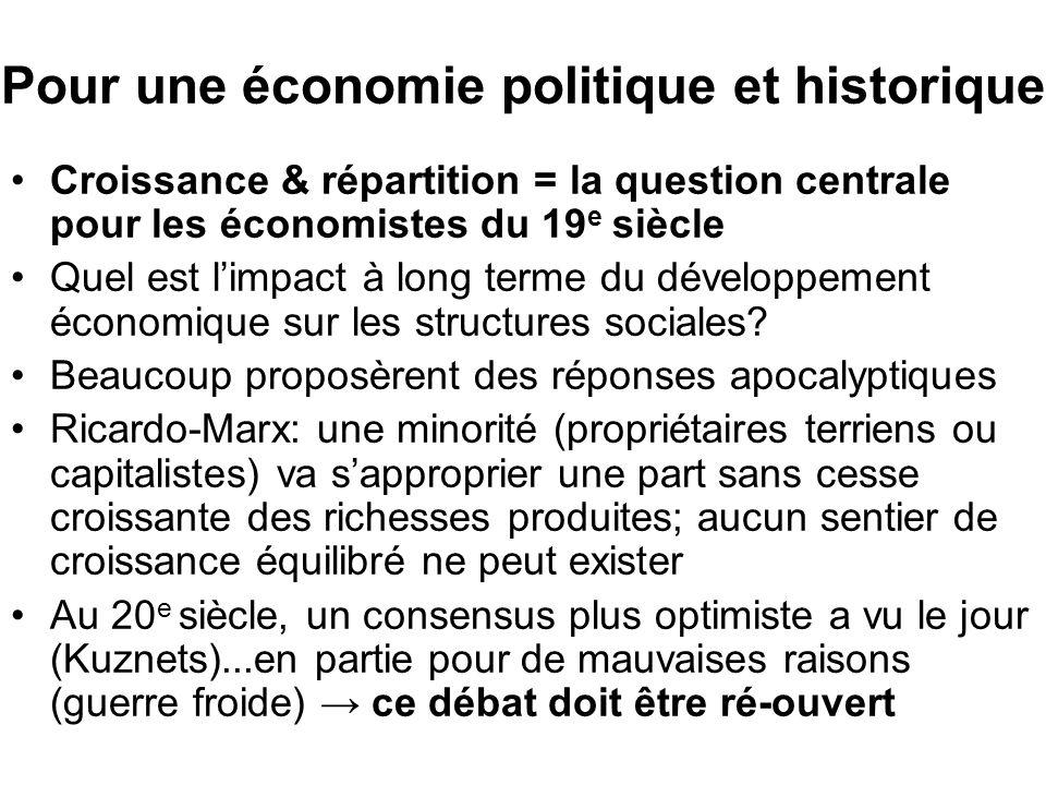 Pour une économie politique et historique Croissance & répartition = la question centrale pour les économistes du 19 e siècle Quel est limpact à long