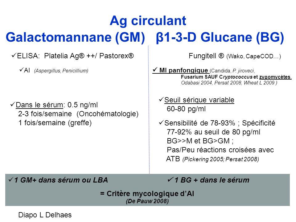 Galactomannane (GM) β1-3-D Glucane (BG) ELISA: Platelia Ag® ++/ Pastorex®Fungitell ® (Wako, CapeCOD…) Dans le sérum: 0.5 ng/ml 2-3 fois/semaine (Oncoh