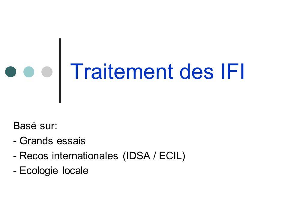 Traitement des IFI Basé sur: - Grands essais - Recos internationales (IDSA / ECIL) - Ecologie locale