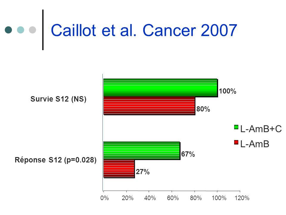 Caillot et al. Cancer 2007 27% 80% 67% 100% 0%20%40%60%80%100%120% Réponse S12 (p=0.028) Survie S12 (NS) L-AmB+C L-AmB