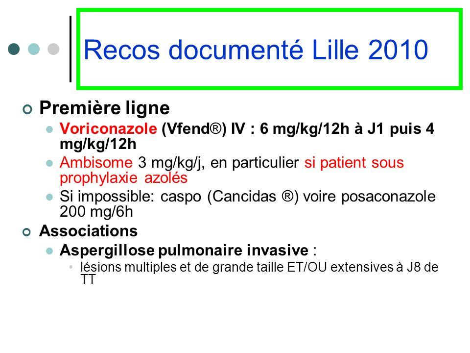 Recos documenté Lille 2010 Première ligne Voriconazole (Vfend®) IV : 6 mg/kg/12h à J1 puis 4 mg/kg/12h Ambisome 3 mg/kg/j, en particulier si patient s