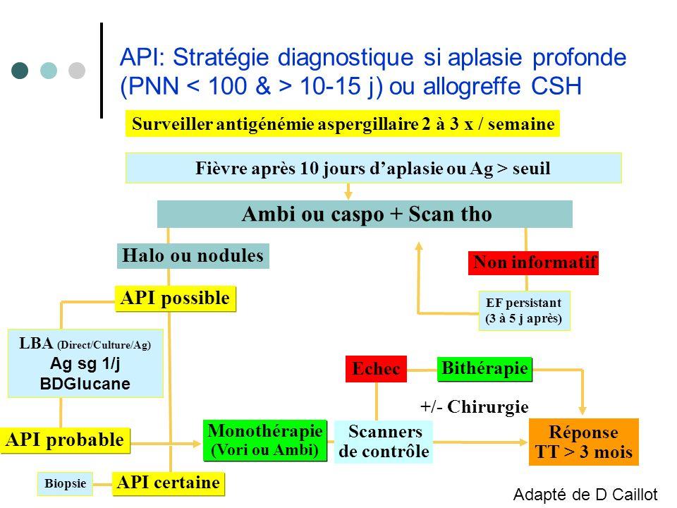 Surveiller antigénémie aspergillaire 2 à 3 x / semaine Fièvre après 10 jours daplasie ou Ag > seuil EF persistant (3 à 5 j après) Non informatif Répon