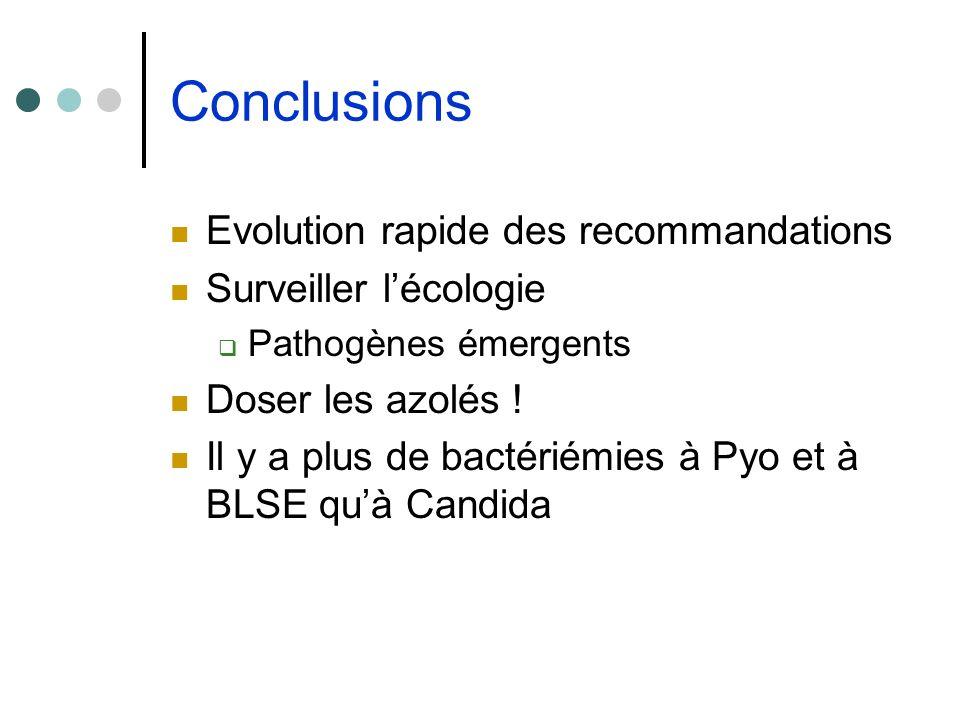 Conclusions Evolution rapide des recommandations Surveiller lécologie Pathogènes émergents Doser les azolés ! Il y a plus de bactériémies à Pyo et à B