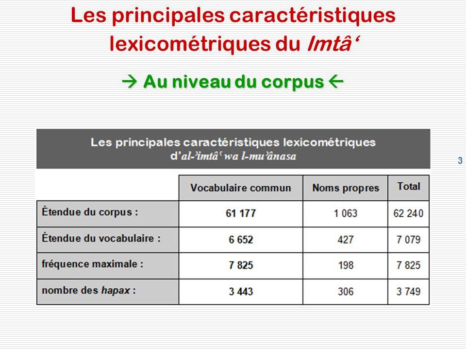 3 Au niveau du corpus Les principales caractéristiques lexicométriques du Imtâ Au niveau du corpus