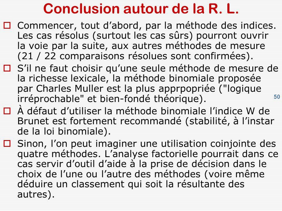 50 Conclusion autour de la R. L. Commencer, tout dabord, par la méthode des indices.