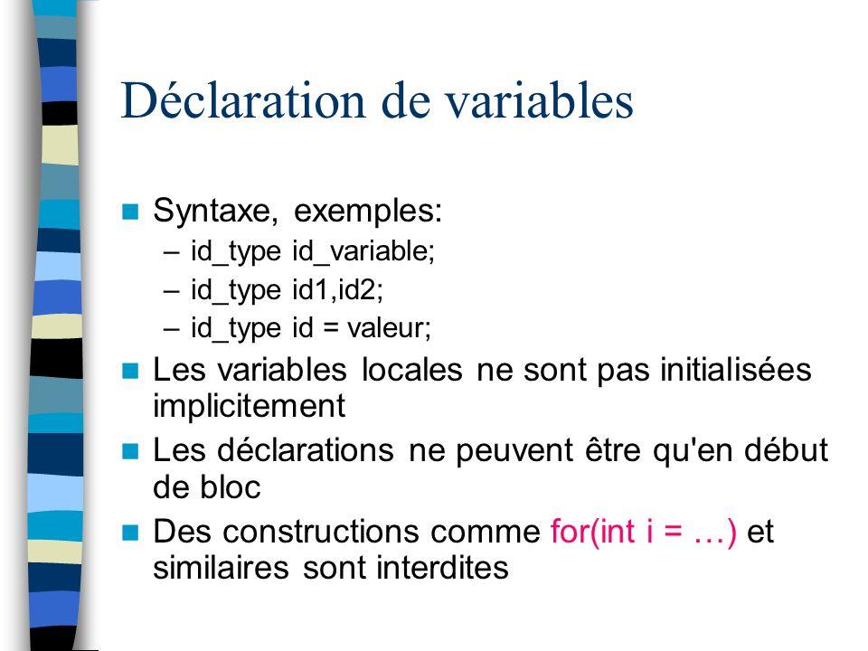 Déclaration de variables Syntaxe, exemples: –id_type id_variable; –id_type id1,id2; –id_type id = valeur; Les variables locales ne sont pas initialisé