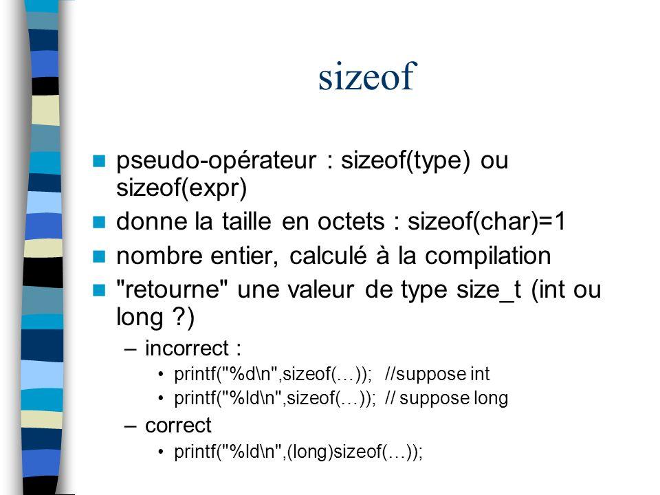 sizeof pseudo-opérateur : sizeof(type) ou sizeof(expr) donne la taille en octets : sizeof(char)=1 nombre entier, calculé à la compilation