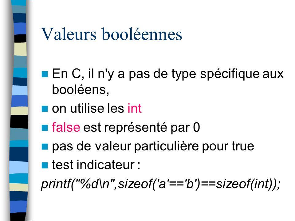 Valeurs booléennes En C, il n'y a pas de type spécifique aux booléens, on utilise les int false est représenté par 0 pas de valeur particulière pour t