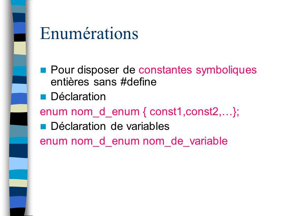 Enumérations Pour disposer de constantes symboliques entières sans #define Déclaration enum nom_d_enum { const1,const2,…}; Déclaration de variables en