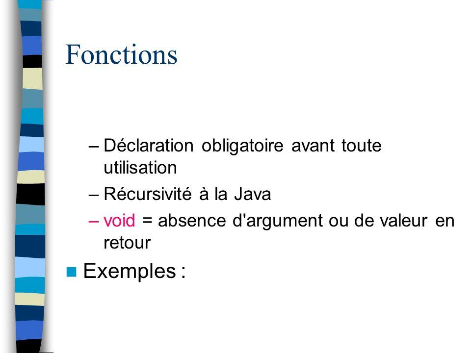 Fonctions –Déclaration obligatoire avant toute utilisation –Récursivité à la Java –void = absence d'argument ou de valeur en retour Exemples :
