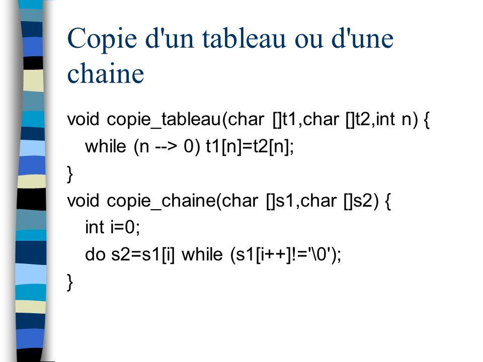 Copie d'un tableau ou d'une chaine void copie_tableau(char []t1,char []t2,int n) { while (n --> 0) t1[n]=t2[n]; } void copie_chaine(char []s1,char []s