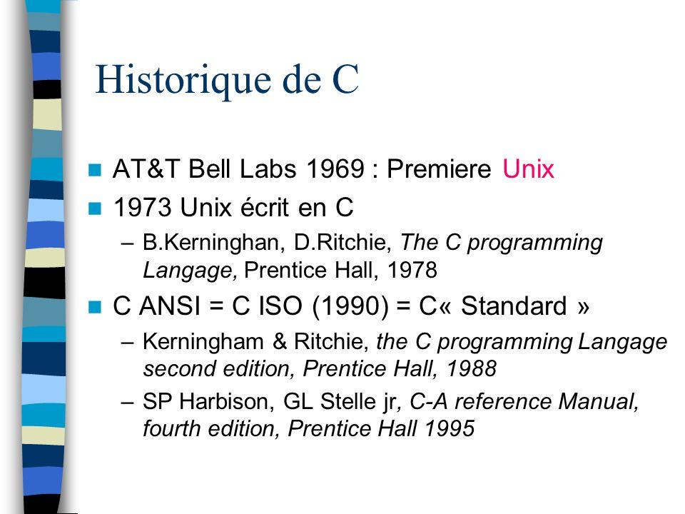 Historique de C AT&T Bell Labs 1969 : Premiere Unix 1973 Unix écrit en C –B.Kerninghan, D.Ritchie, The C programming Langage, Prentice Hall, 1978 C AN